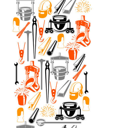 Metallurgical seamless pattern. Industrial items and equipment. Иллюстрация