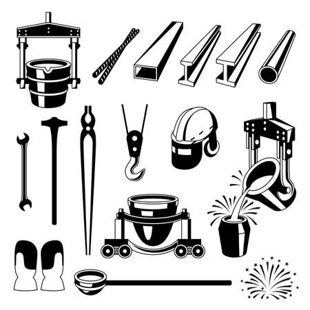 Metallurgical symbols set. Industrial items and equipment. Stock Illustratie