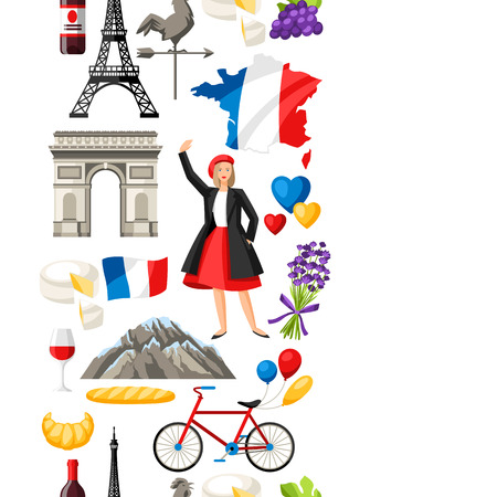 France seamless pattern. French traditional symbols and objects. Stock Vector - 105300277
