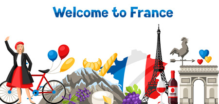 France banner design. French traditional symbols and objects. Illustration