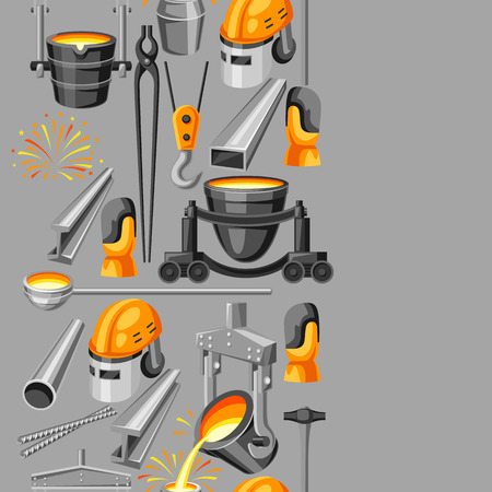 Metallurgical seamless pattern. Industrial items and equipment.  イラスト・ベクター素材