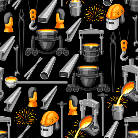 Metallurgical seamless pattern. Industrial items and equipment. Illustration