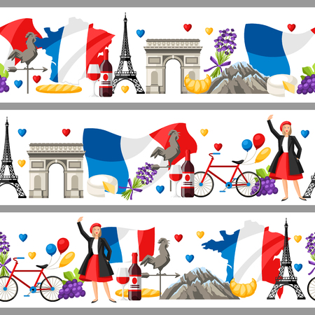 France seamless borders. French traditional symbols and objects.