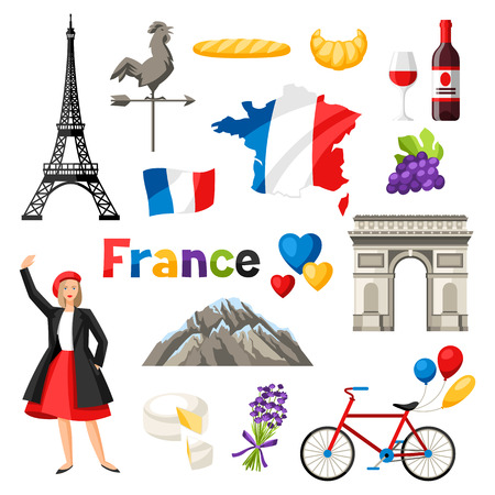 France icons set. French traditional symbols and objects. Stock Vector - 105300281