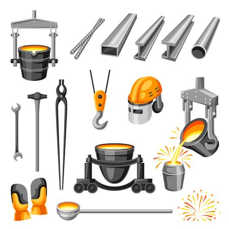 Ensemble de symboles métallurgiques. Articles et équipements industriels. Vecteurs