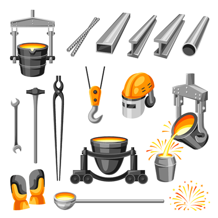 Metallurgical symbols set. Industrial items and equipment. Ilustração