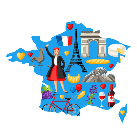 Illustration map of France. French traditional symbols and objects.