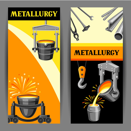 Metallurgical banners design. Industrial items and equipment. Vecteurs