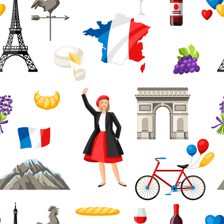 France seamless pattern. French traditional symbols and objects. Stock Vector - 114898098