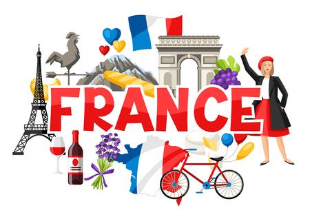 Frankreich Hintergrunddesign. Französische traditionelle Symbole und Gegenstände.