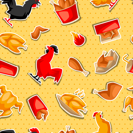 Fast food fried chicken meat. Seamless pattern with legs, wings and basket. Standard-Bild - 114898103
