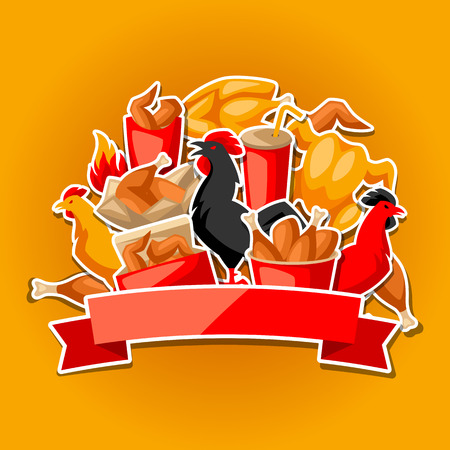 Fast food fried chicken meat. Background with legs, wings and basket.