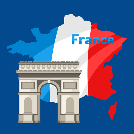 Triumphal Arch on map of France. Architectural sight illustration.