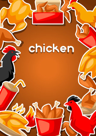 Fast food fried chicken meat. Background with legs, wings and basket. Standard-Bild - 114898112