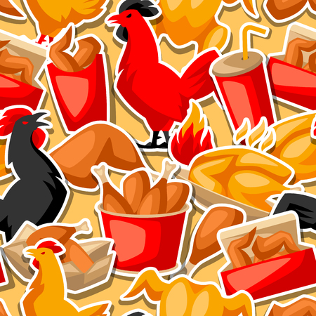 Fast food fried chicken meat. Seamless pattern with legs, wings and basket. Иллюстрация