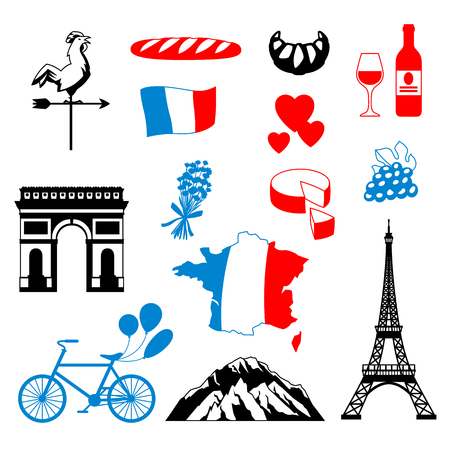 France background design. French traditional symbols and objects. Stock Vector - 114826638