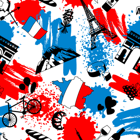 France seamless pattern. French traditional symbols and objects.