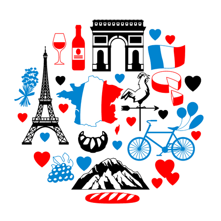 France background design. French traditional symbols and objects. Stock Vector - 114826653