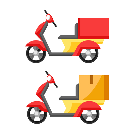 Goods delivery by motorcycle. Illustration of scooter motorbikes.