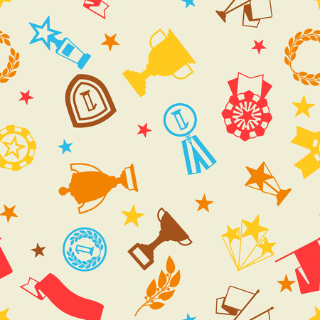 Awards and trophy seamless pattern. Reward items for sports or corporate competitions. Illustration