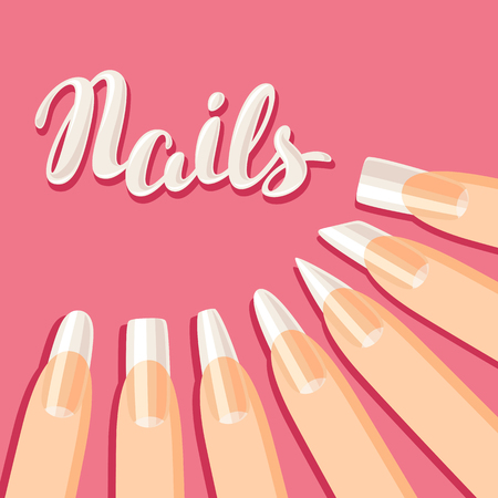 Acrylic nail shapes set. Various types of manicure.