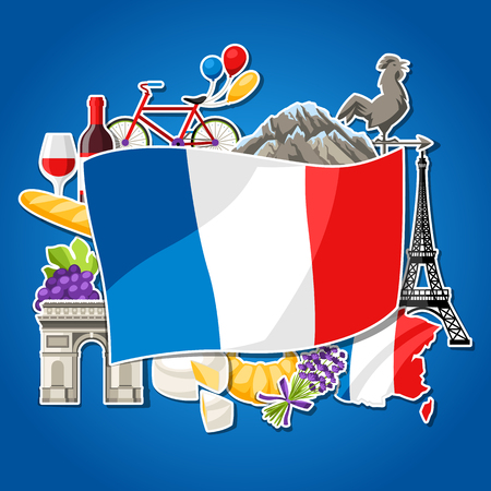 France background design. French traditional sticker symbols and objects. Illustration