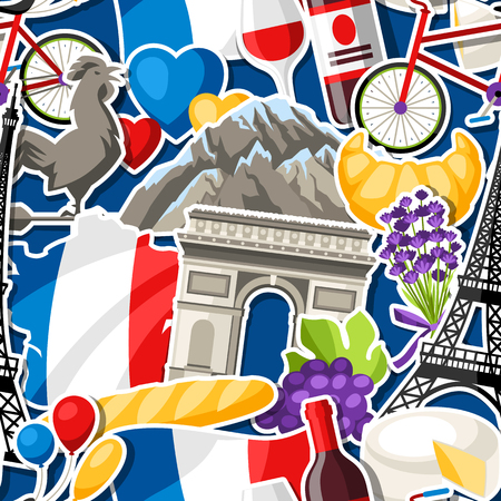 France seamless pattern. French traditional sticker symbols and objects. Stock Vector - 112267113