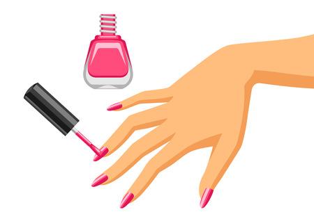 Kobieta robi manicure. Ilustracja kobiece strony stosując lakier do paznokci.