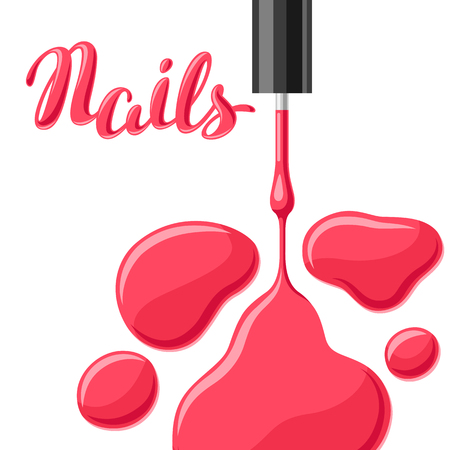 Drops of nail polish and brush. Fashionable illustration for manicure salons.