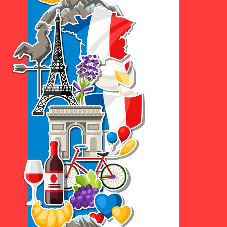 France seamless pattern. French traditional sticker symbols and objects. Illustration