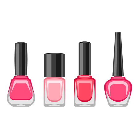 Set of bottles with nail polish. Various lacquer ads for manicure. Illustration
