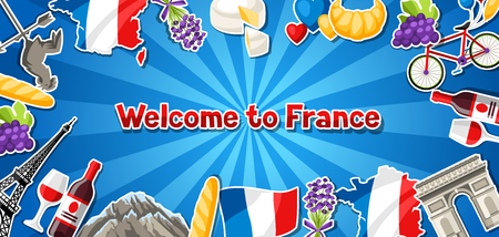 France banner design. French traditional sticker symbols and objects. Stock Vector - 112267122