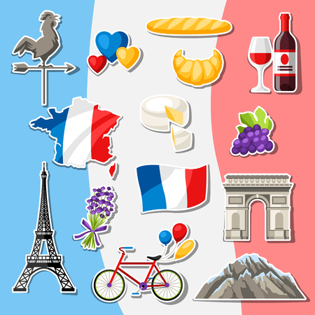 France icons set. French traditional sticker symbols and objects. Illustration