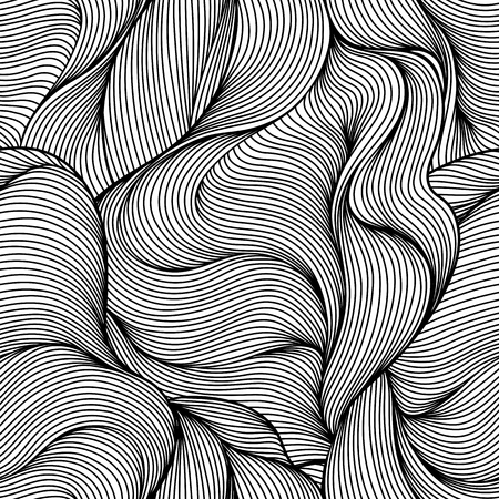 Seamless wave hair line pattern. Monochrome stripes black and white texture.