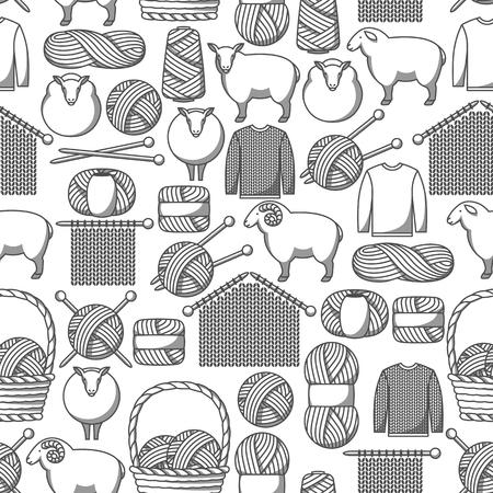 Patrones sin fisuras con artículos de lana. Productos para confección artesanal, tejido o sastrería.