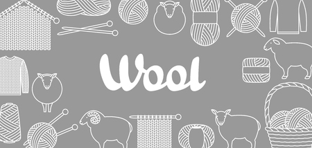 Background with wool items. Goods for hand made, knitting or tailor shop. Illustration