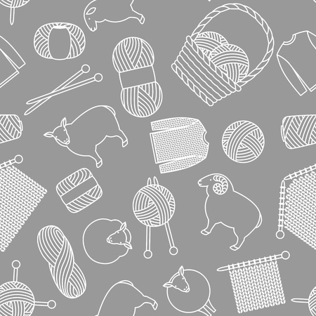 Seamless pattern with wool items. Goods for hand made, knitting or tailor shop. Illustration