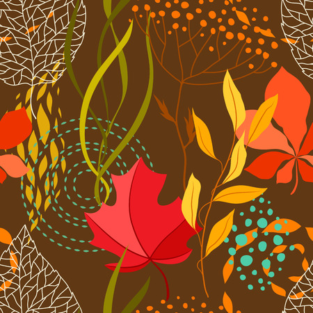 Seamless pattern with falling leaves. Natural illustration of autumn foliage.