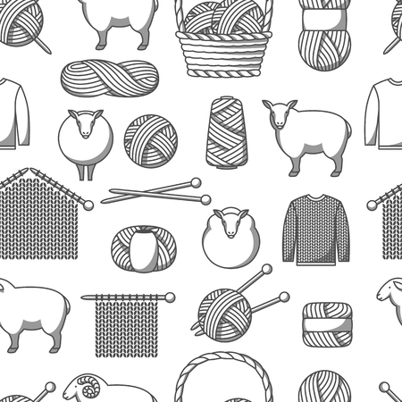 Seamless pattern with wool items. Goods for hand made, knitting or tailor shop. Vecteurs