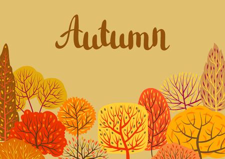 Background with autumn stylized trees. Landscape seasonal illustration.