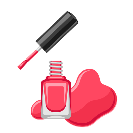 Illustration of bottle with nail polish. Lacquer ads for manicure.