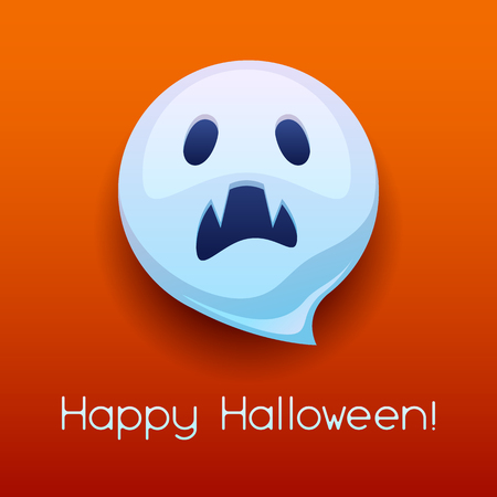 Happy Halloween angry ghost. Celebration party greeting card.