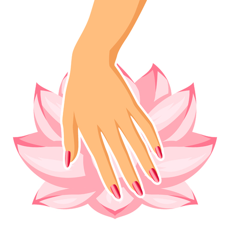 Spa care for hands and nails. Illustration of manicure and lotus.