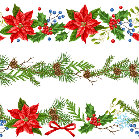 Seamless pattern with winter plants. Merry Christmas holiday decoration. Forest branches background in vintage style. Vetores