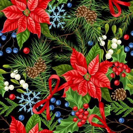 Patrones sin fisuras con plantas de invierno. Feliz Navidad decoración navideña. Fondo de ramas de bosque en estilo vintage.