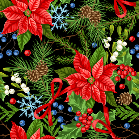 Seamless pattern with winter plants. Merry Christmas holiday decoration. Forest branches background in vintage style. Zdjęcie Seryjne - 111881662
