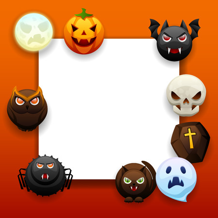 Happy Halloween greeting card. Celebration party background with angry stylized characters. Stock Illustratie