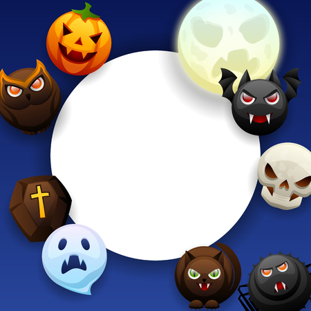 Happy Halloween greeting card. Celebration party background with angry stylized characters. Illustration