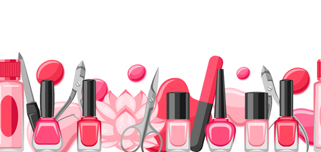 Banner with manicure tools. Nail polishes and professional equipment for manicure salons. Standard-Bild - 107011110