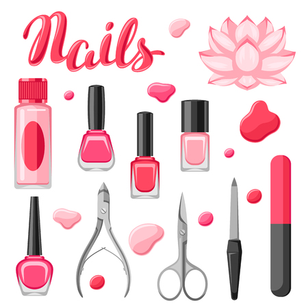 Set of manicure tools. Nail polishes and professional equipment for manicure salons.  イラスト・ベクター素材